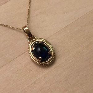 14KY Gold Sapphire Stone Women Necklace